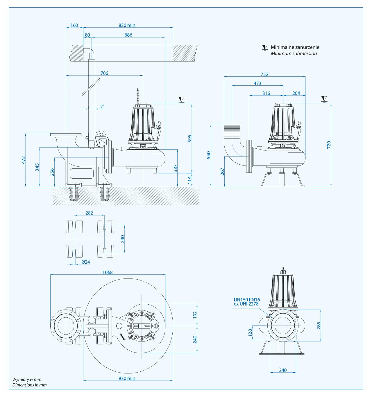 Wymiary pompy na kolanie sprzęgającym DN150